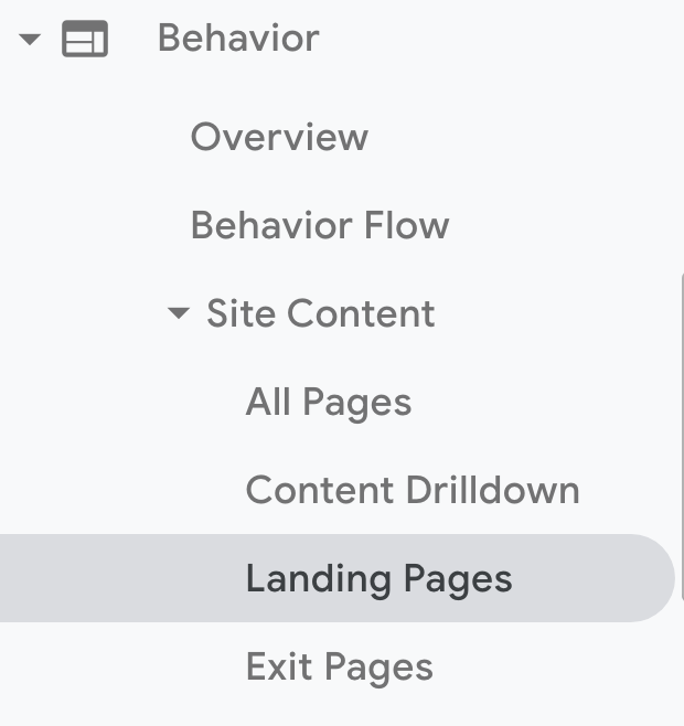 Google Analytics account. Click Behavior > Site Content > Landing Pages.