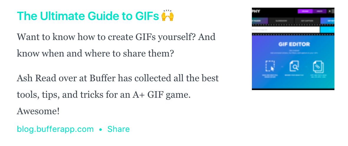 Screenshot of a link and description to a content piece about GIFs