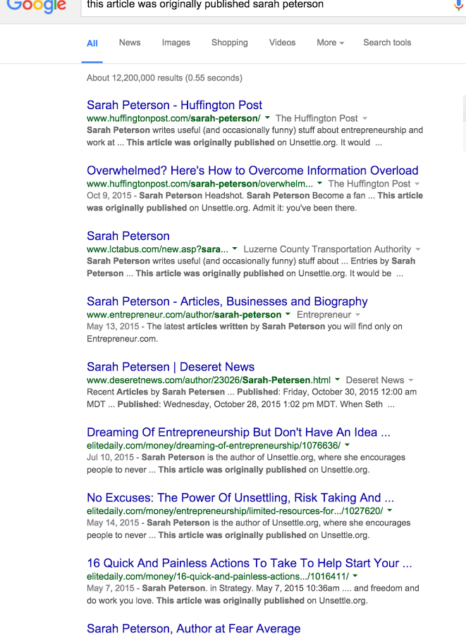 "Screenshot of a google search results for ""this article was originally published by sarah peterson"""