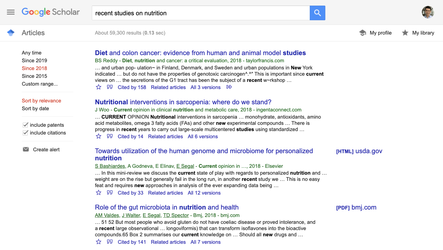 "Screenshot of search results of ""recent studies on nutrition"" on Google Scholar"