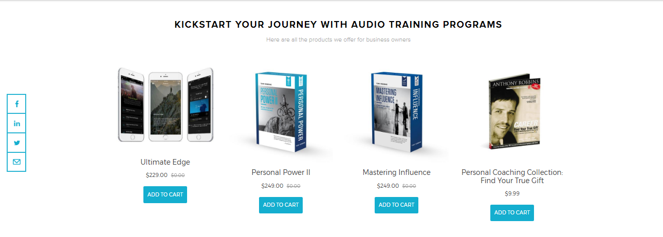 Screenshot of relevant products offered on the Tony Robbins website