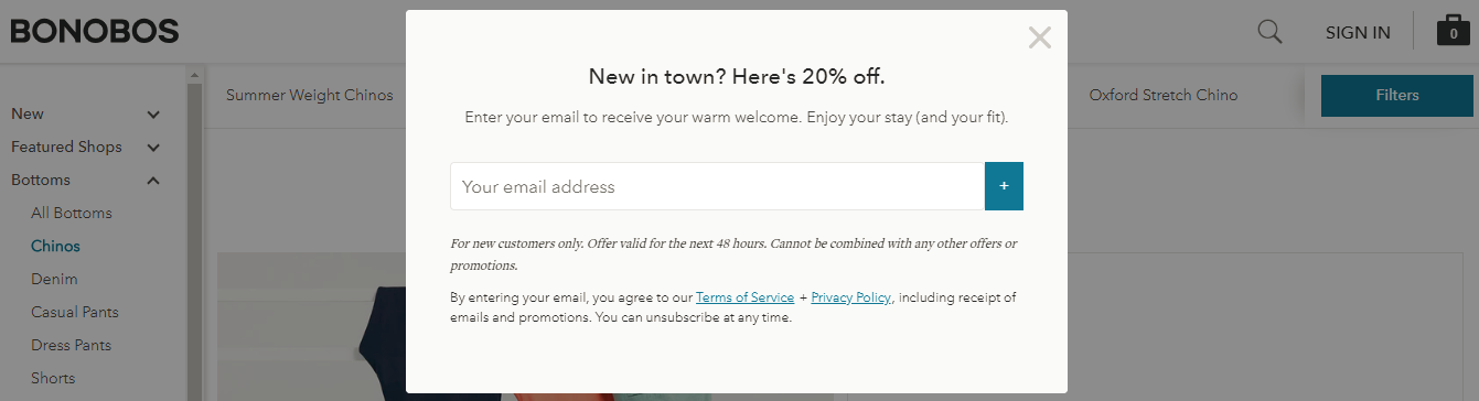 Screenshot showing a discount popup