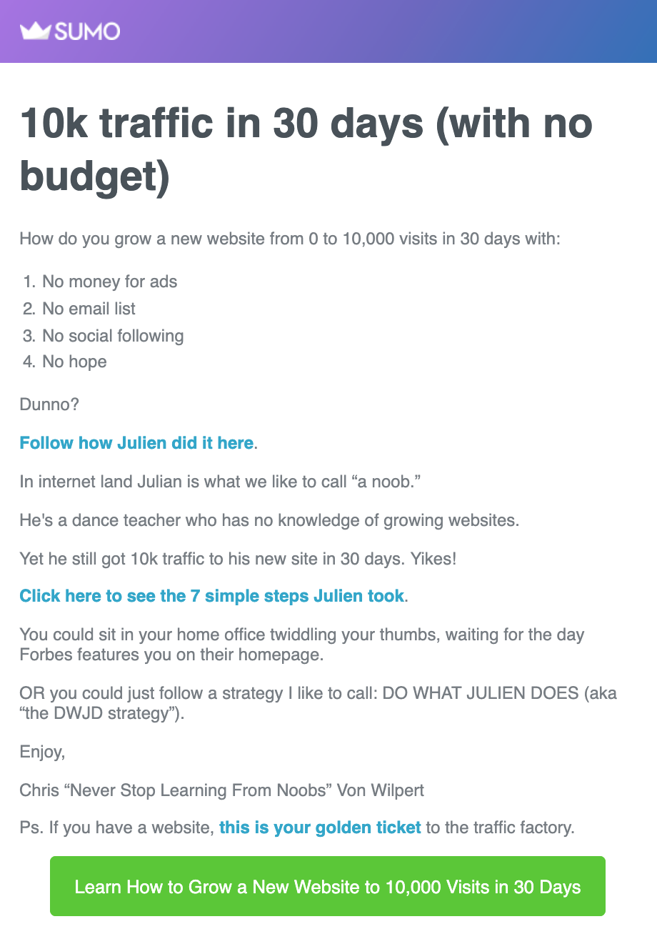 Screenshot of case study content email by Sumo