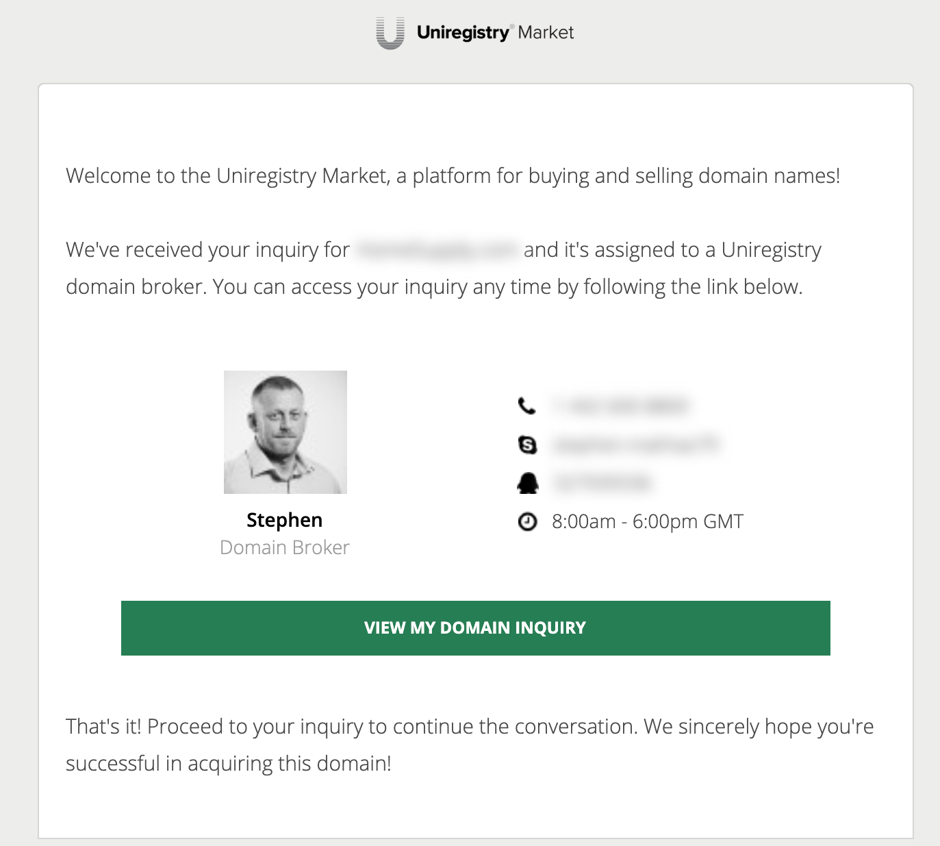 Screenshot of Uniregistry email