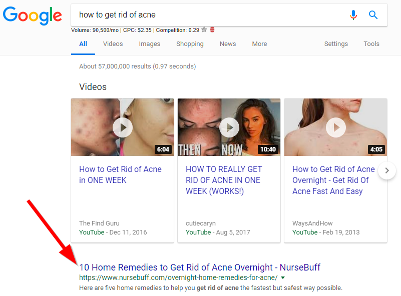 Screenshot showing a google search