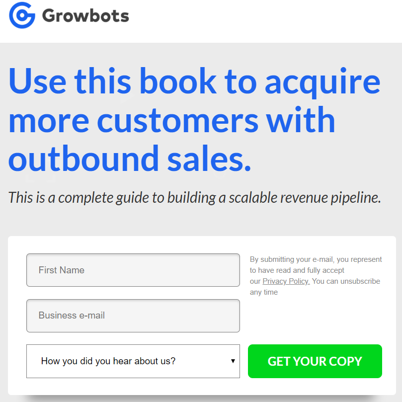 Copywriting Examples - Growbots landing/email sub page