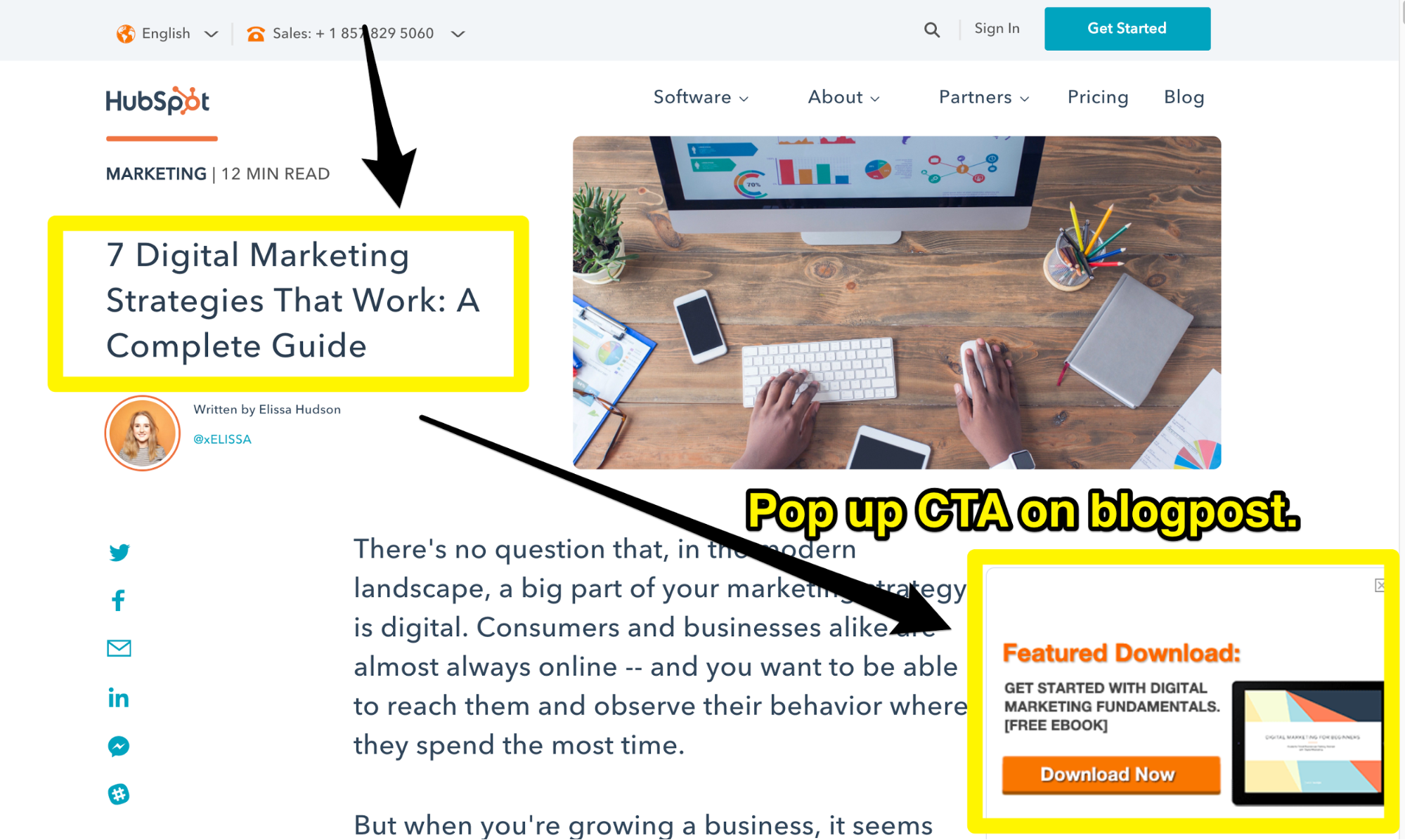 Screenshot showing an article by hubspot