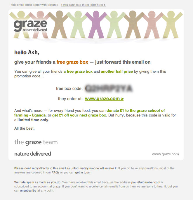 Screenshot showing an email sent by graze