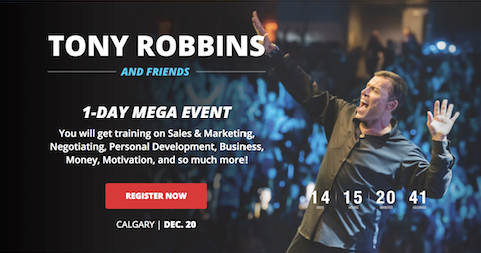 Screenshot showing a tony robbins promotional page