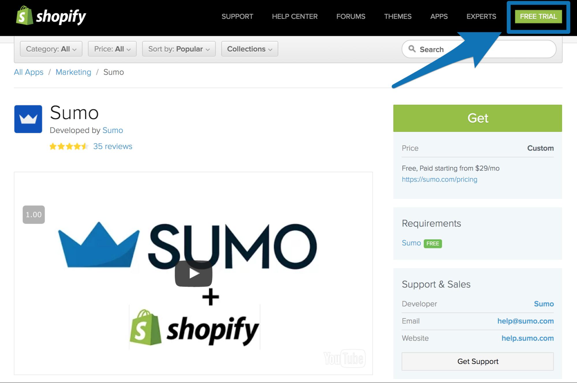 Screenshot showing Sumo