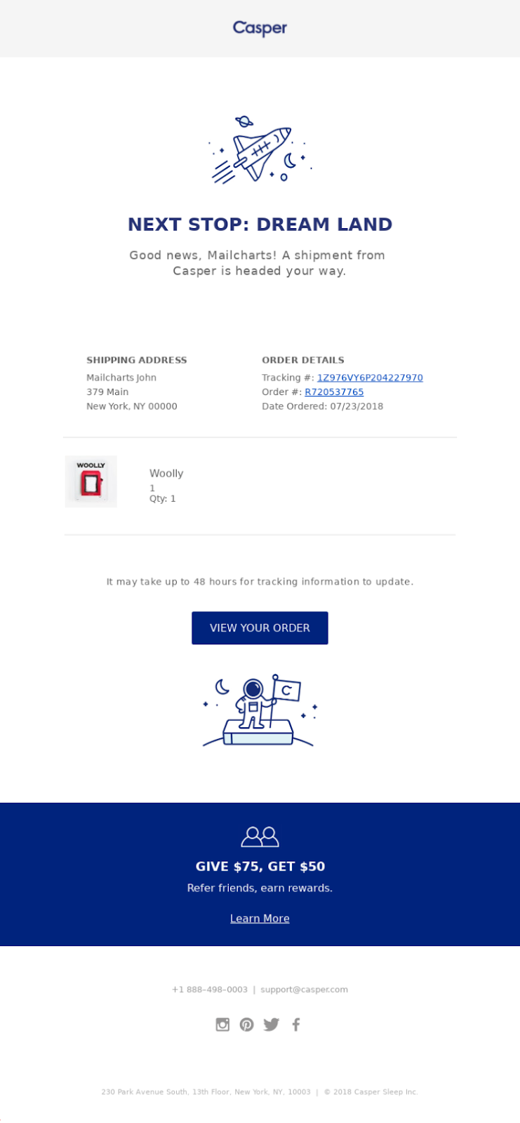 THE FULL-JOURNEY CONFIRMATION EMAIL BY CASPER