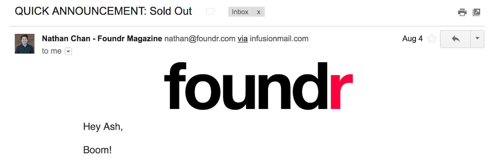Best Email Subject Lines: Screenshot of email from Foundr