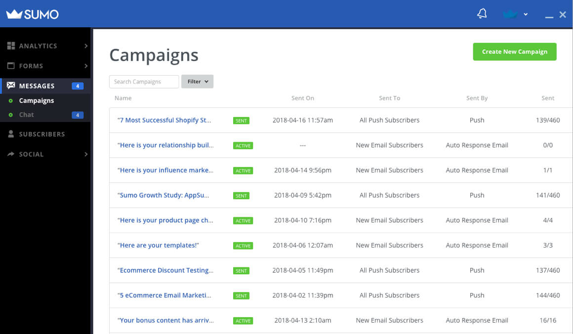 Screenshot showing campaigns page on Sumo
