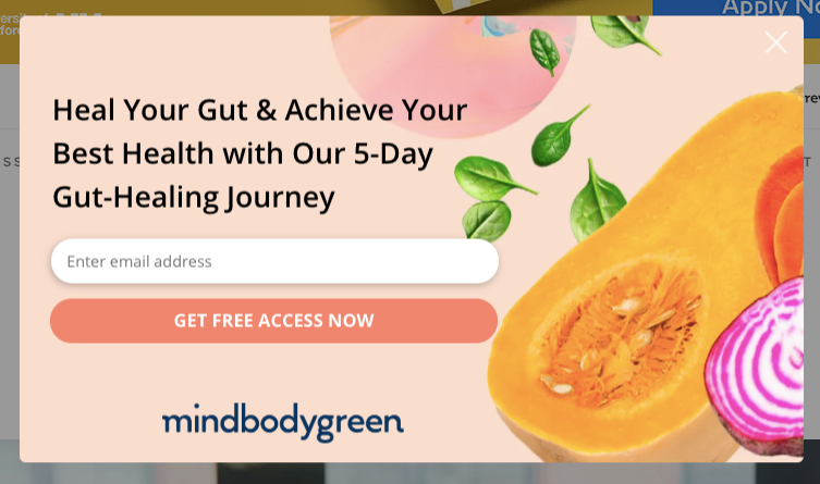 Screenshot of MindBodyGreen pop-up form