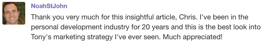 Screenshot of a comment by NoahStJohn