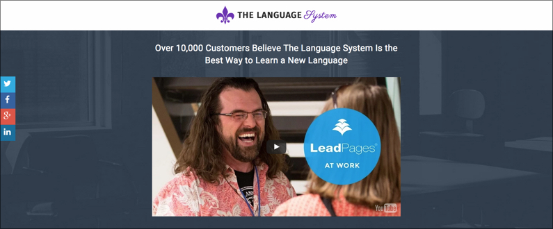 Screenshot showing the headline for a landing page on The Language System