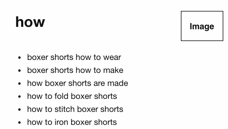 """Screenshot showing suggested keywords for """"how"""" for a topic"""
