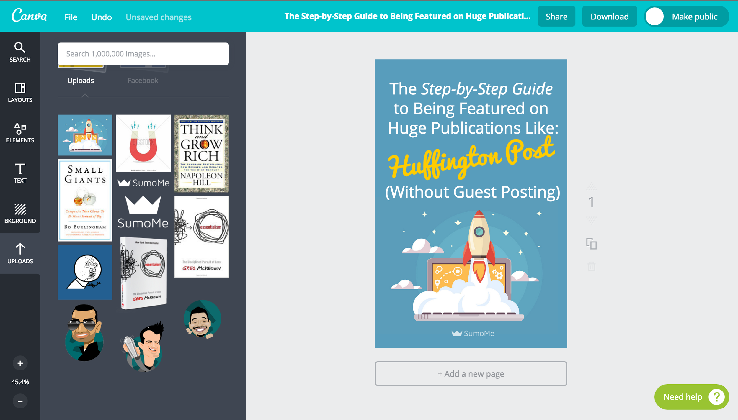 Screenshot of a design being edited on Canva