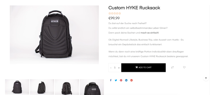 Screenshot showing Hyke product page
