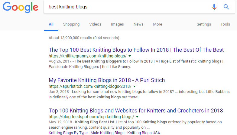 "Screenshot showing google search results for ""best knitting blogs"""