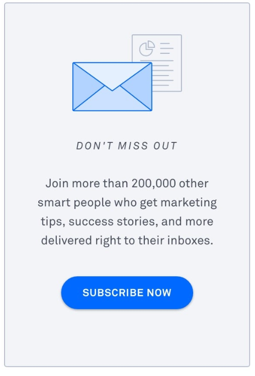 How To Build An Email List: Screenshot of Sumo static sign-up form