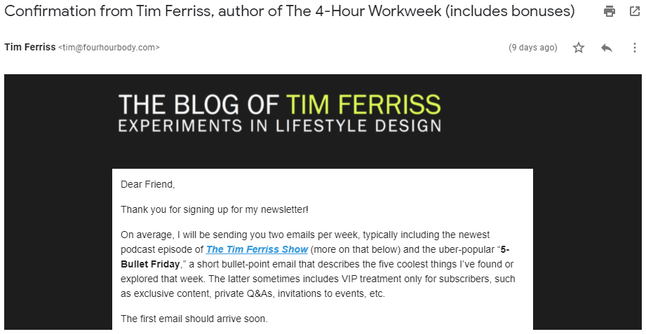 Confirmation email from Tim Ferris