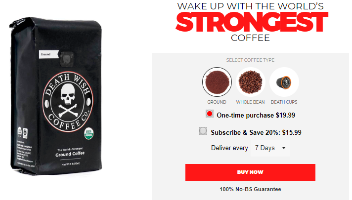 Screenshot of use of trigger words in product name by Death Wish Coffee