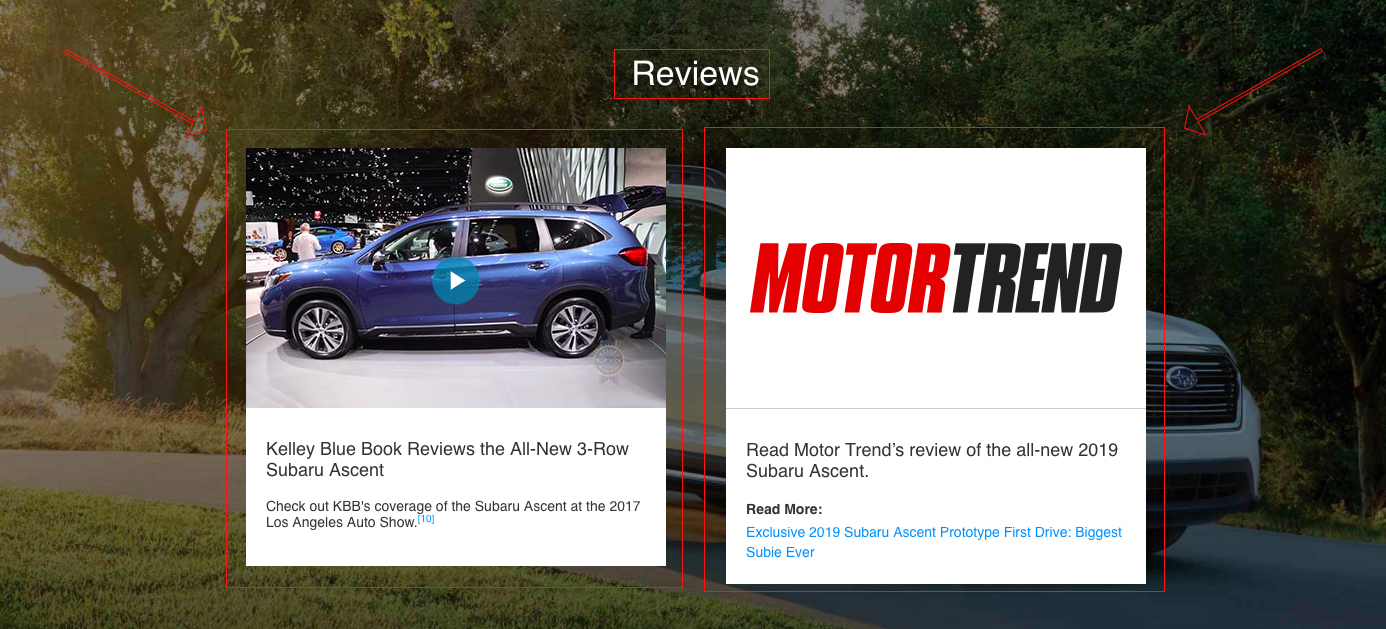 Screenshot showing a reviews page