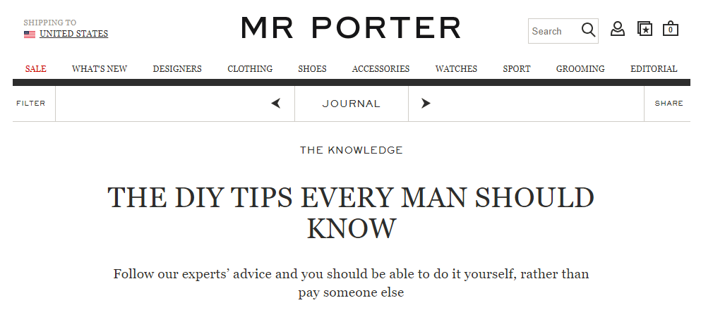 Screenshot showing a page on mr porter