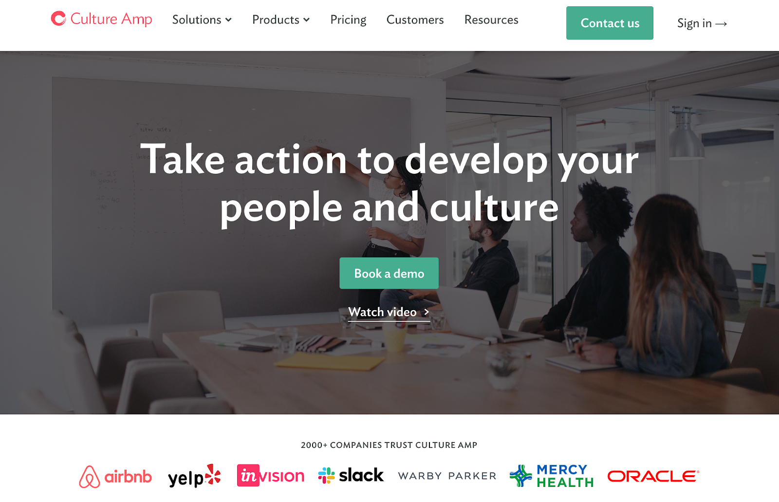 Screenshot of Culture Amp website using CTAs