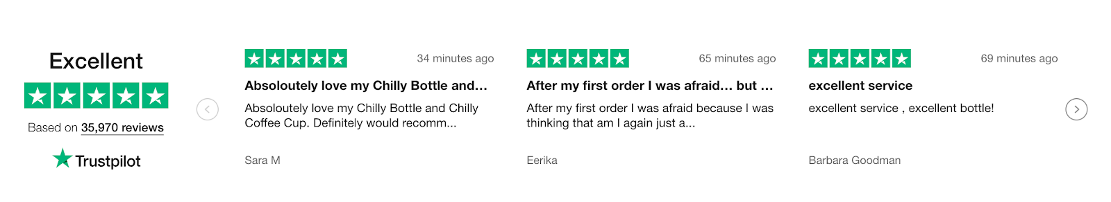 Screenshot of reviews on Chilly