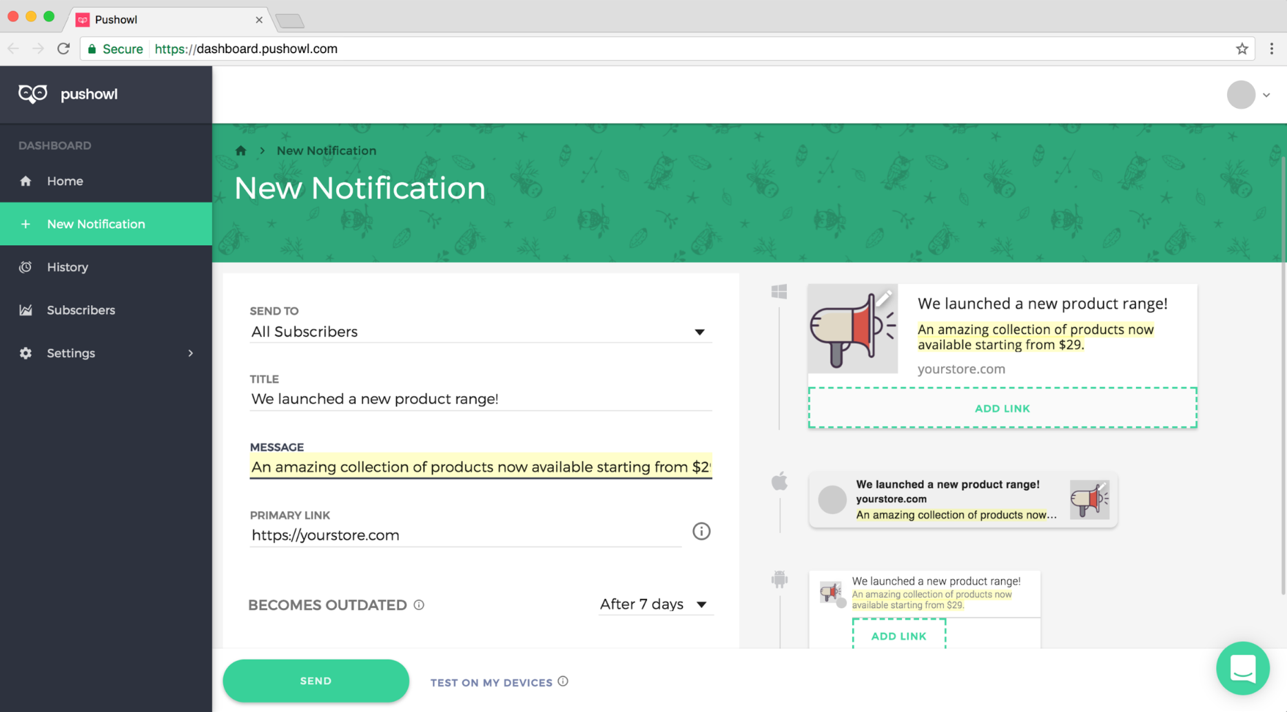Screenshot of the Pushowl dashboard, and the page where you can send notifications to users