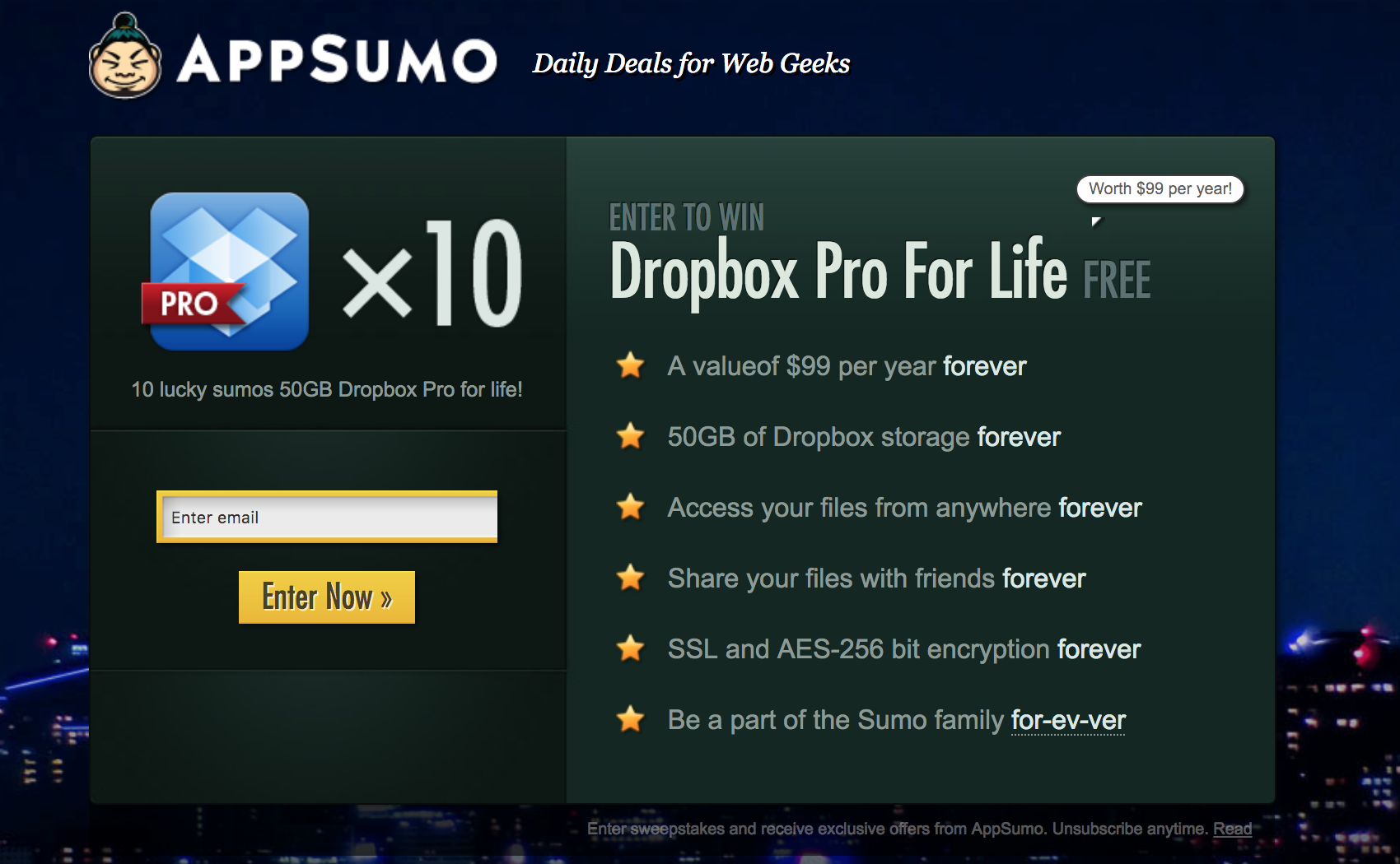 Screenshot showing an Appsumo deal