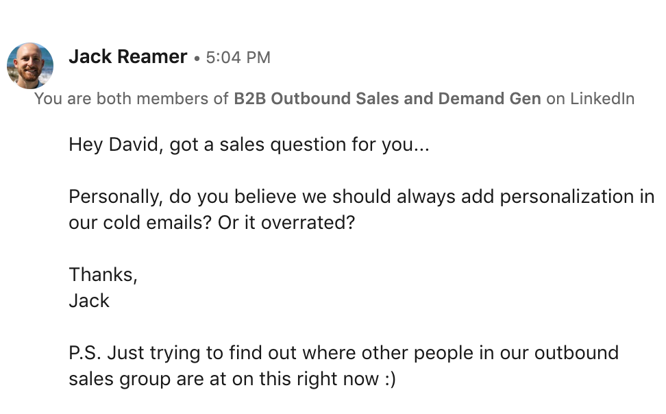 LinkedIn message from Jack Reamer, Founder of Emails That Sell