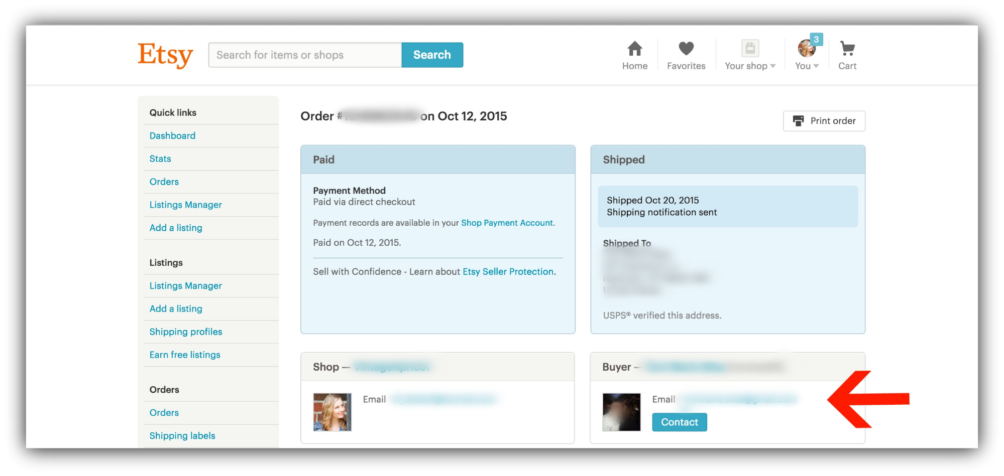 Screenshot showing an Etsy order confirmation page, highlighting where you can see a customer