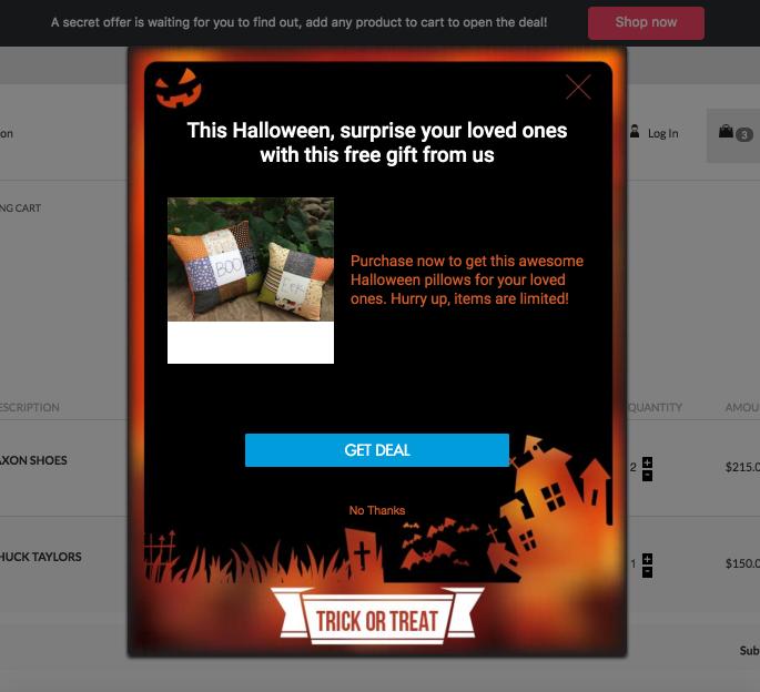 Screenshot showing a halloween popup