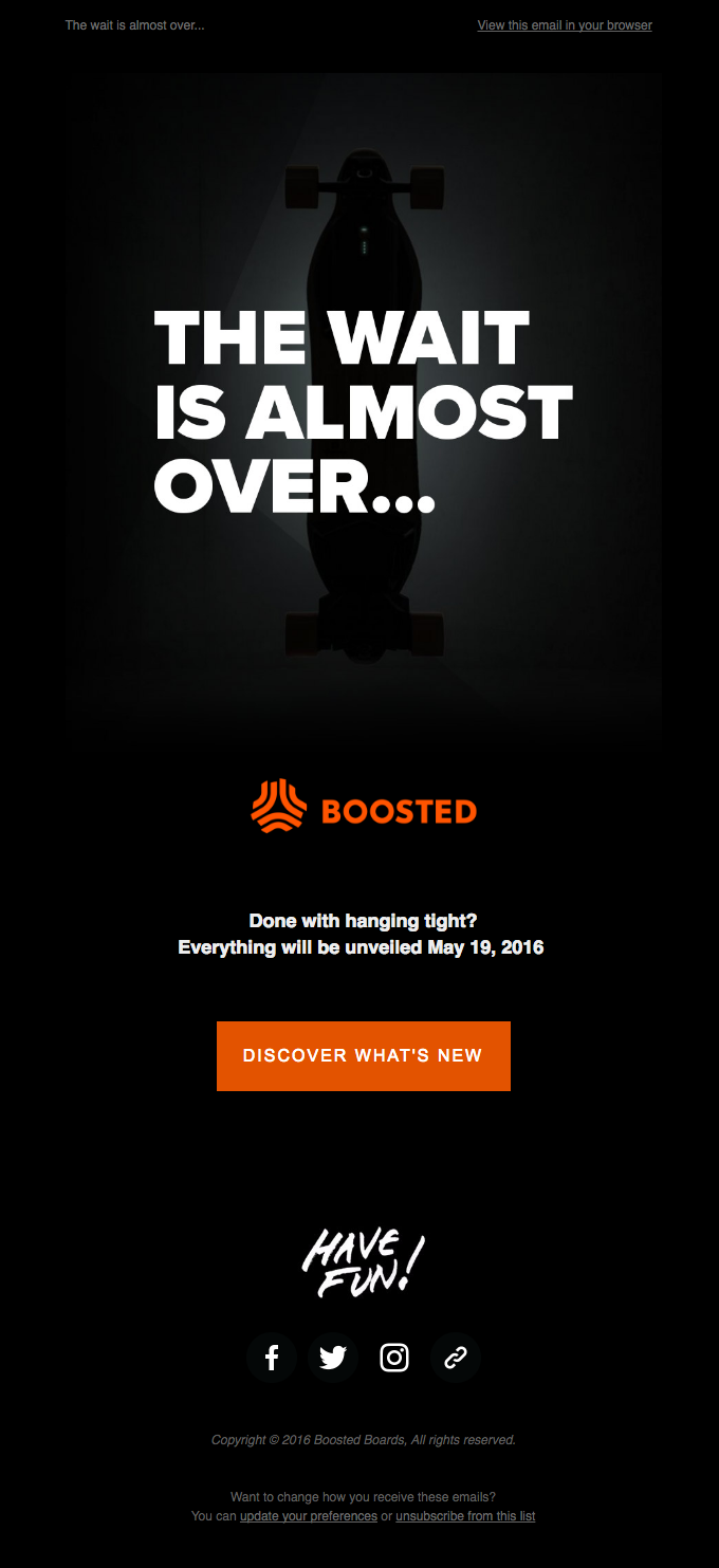 Screenshot of Boosted Boards email
