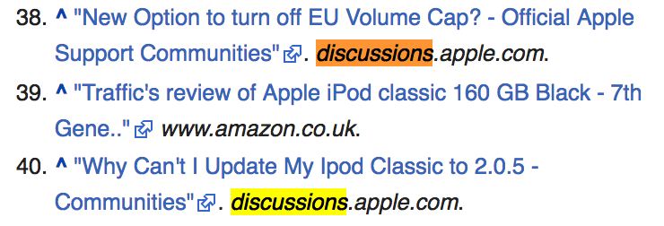 Screenshot showing the references on a wikipedia article