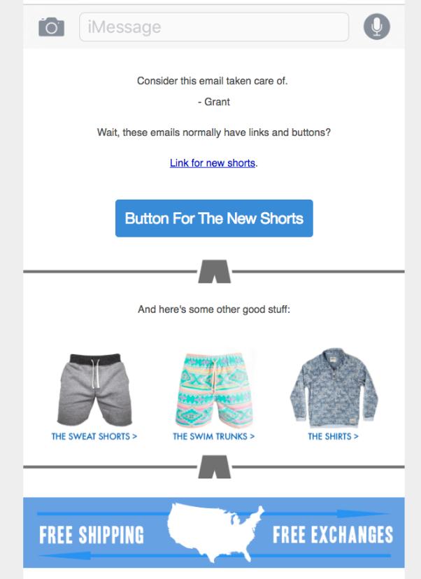 Screenshot of Chubbies email