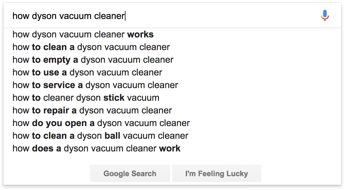 Screenshot showing google search recommendations