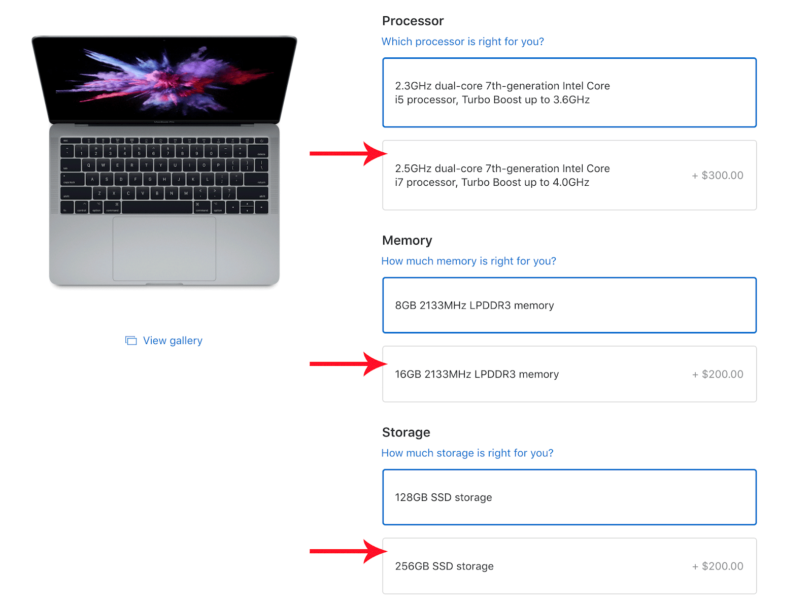 Screenshot showing purchasing options on a product page
