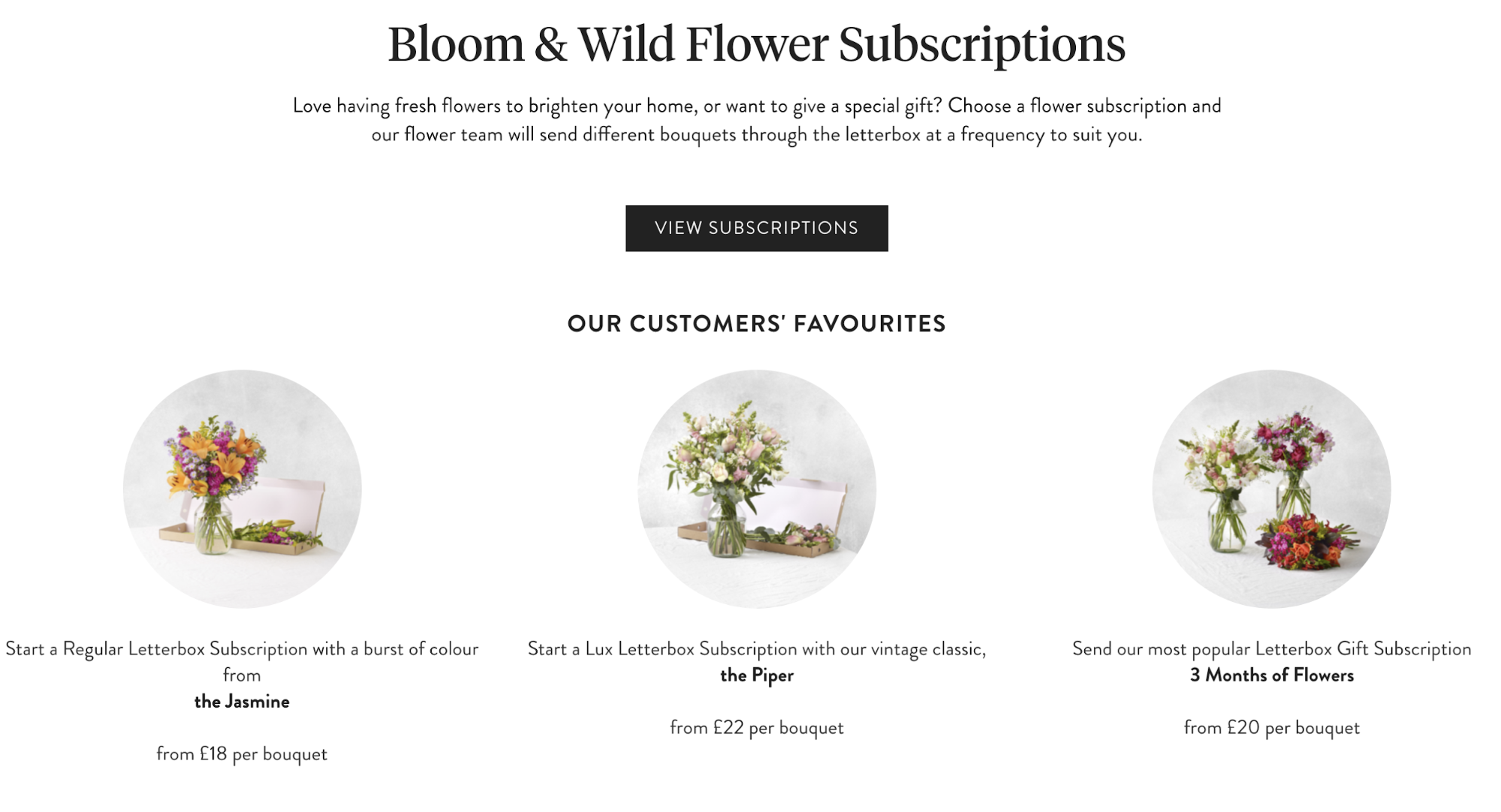 Screenshot showing a subscription store