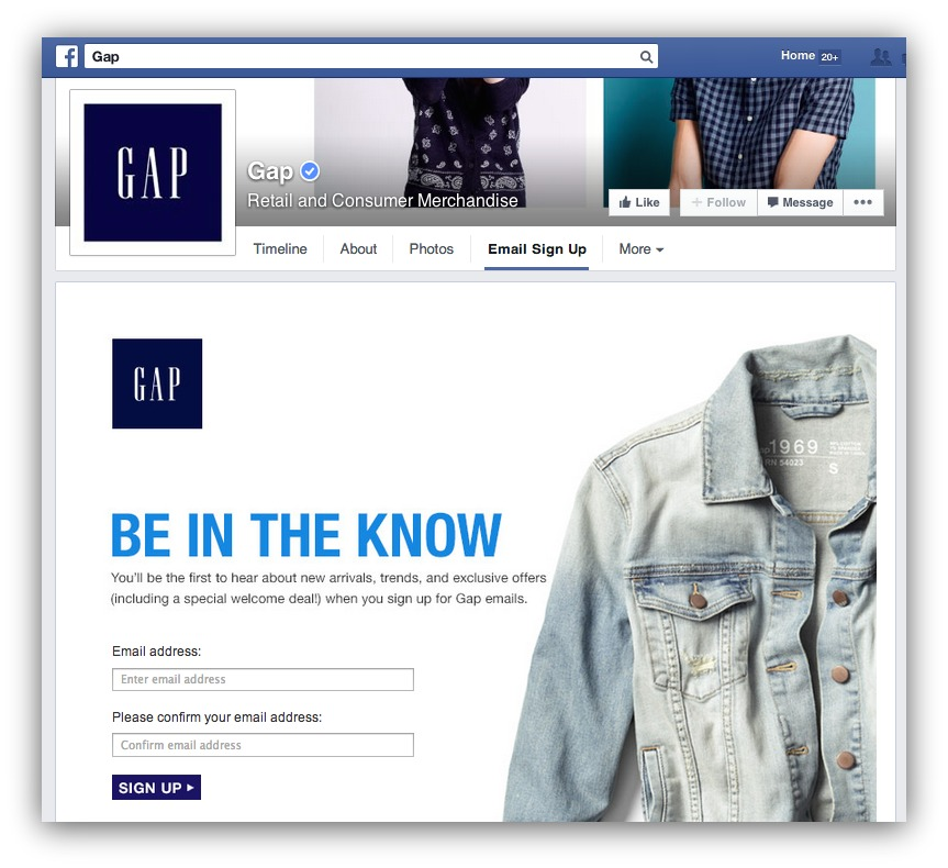Screenshot showing an email subscription box on Gap