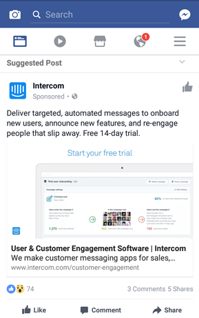 Screenshot showing a facebook post by intercom