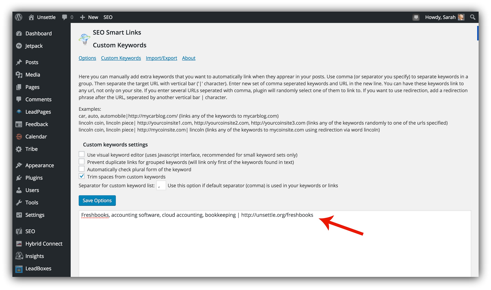 Screenshot of the SEO Smart Links wordpress plugin