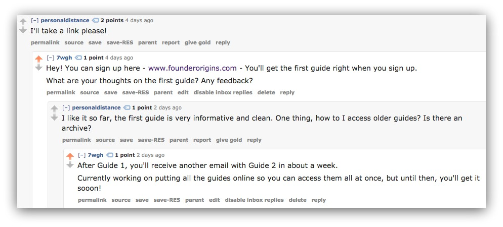Screenshot of the author replying to Reddit comments