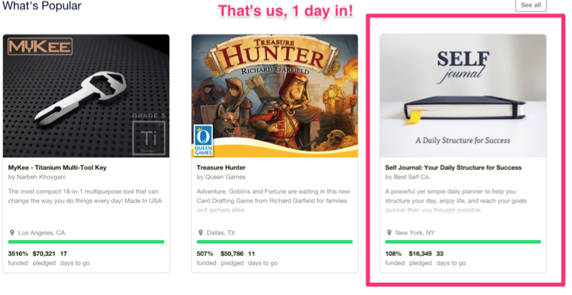 Screenshot showing a successful kickstarter campaign
