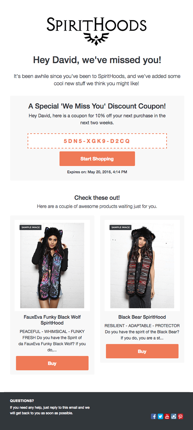 Screenshot showing an email by spirithoods