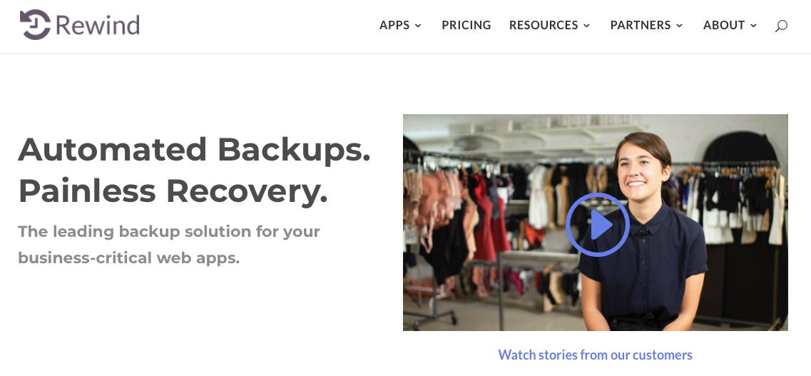 Rewind Shopify app