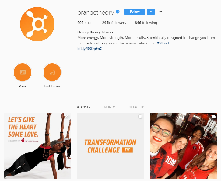 Instagram of Orangetheory Fitness